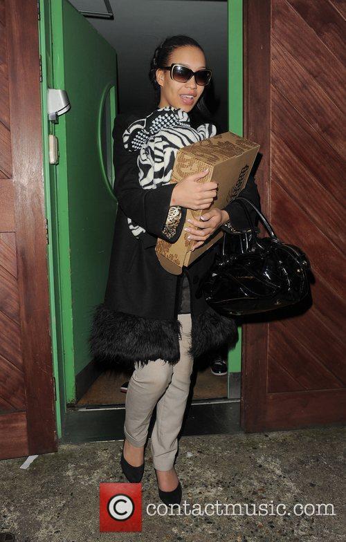 X Factor finalist Rebecca Ferguson leaving a recording...