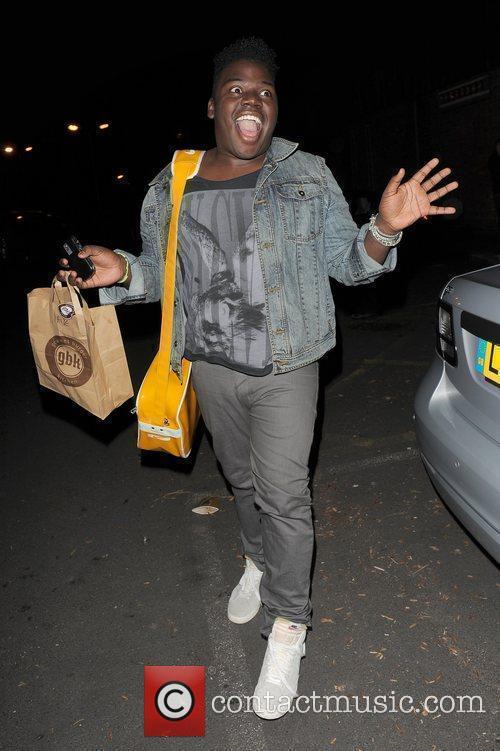 X Factor contestant Paije Richardson leaving a studio....