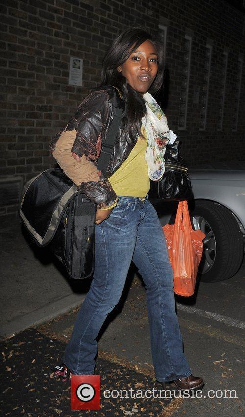 X Factor contestant Treyc Cohen leaving a studio....