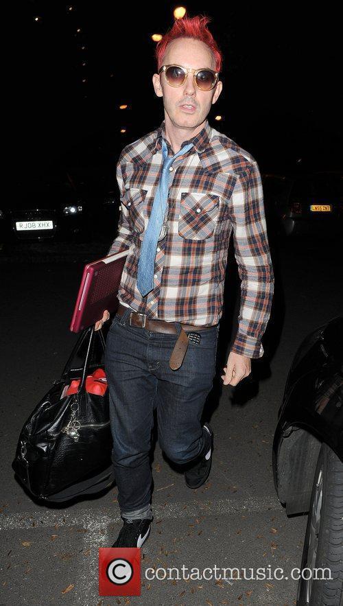 X Factor contestant Storm Lee leaving a studio....