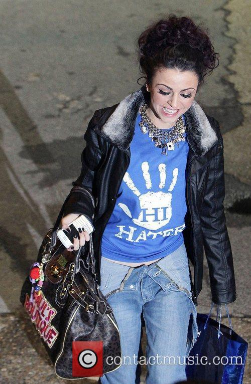 Cher Lloyd,  leaving the studio after the...