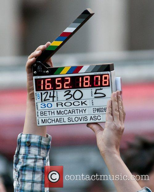 Clapper board on location at Rockefeller Center shooting...
