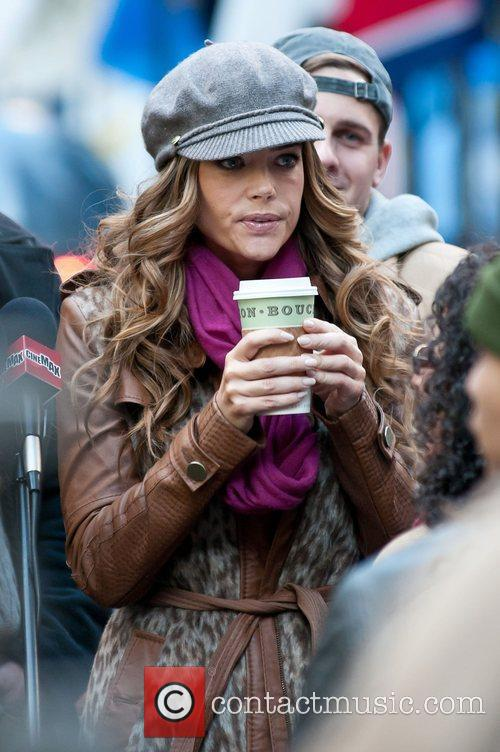 Denise Richards on location at Rockefeller Center shooting...