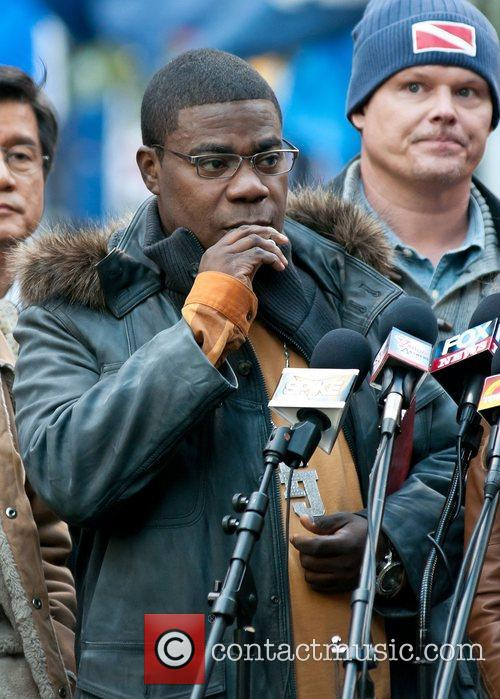 Tracy Morgan on location at Rockefeller Center shooting...