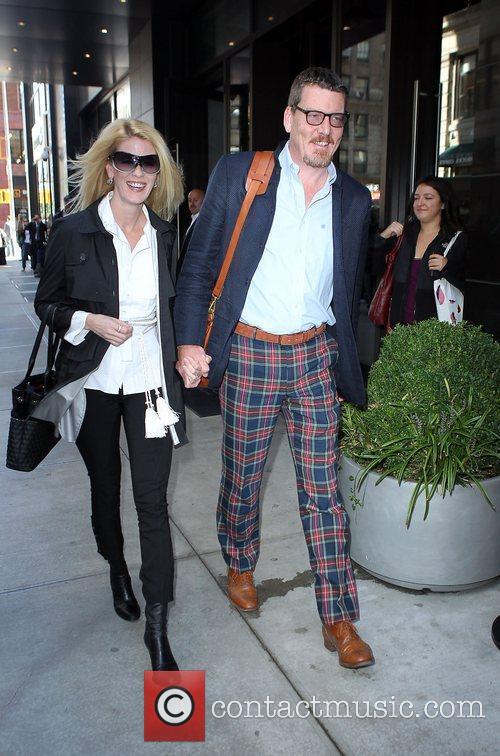 Leaving their hotel in Manhattan