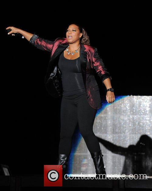 Queen Latifah performs during the Black Eyed Peas...