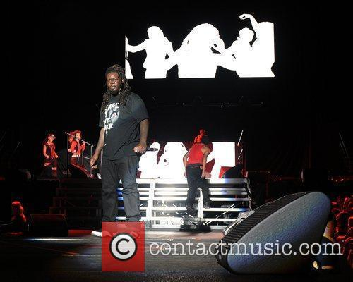 T Pain performs during the Black Eyed Peas...
