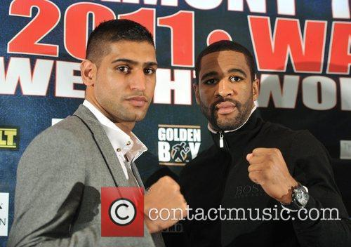 Amir Khan and Lamont Peterson attend a Promotional...