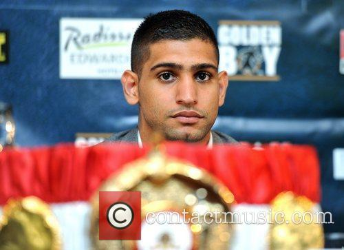 Amir Khan attends a Promotional press conference at...