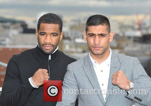 Lamont Peterson and Amir Khan attend a Promotional...