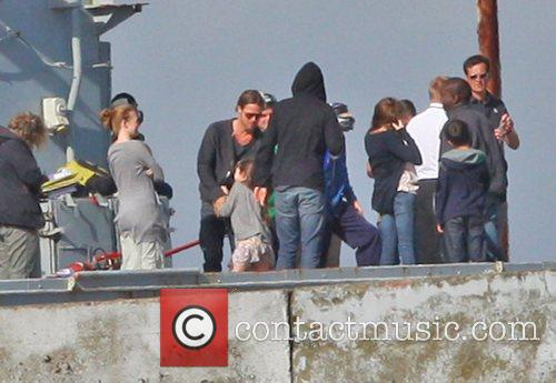 Brad Pitt Filming scenes onboard a warship for...