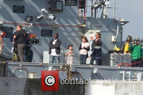 Filming scenes onboard a warship for his new...
