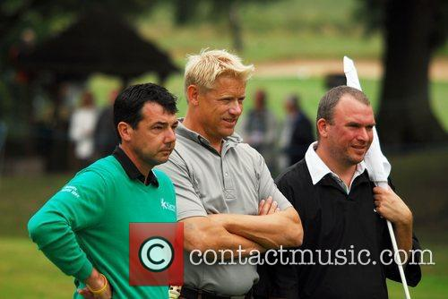Peter Schmeichel (C) playing the Cromwell Course Day...
