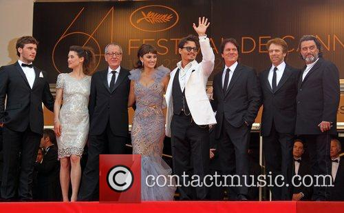 Geoffrey Rush, Johnny Depp, Penelope Cruz and Rob Marshall