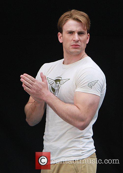 Chris Evans filming a scene for Captain America:...