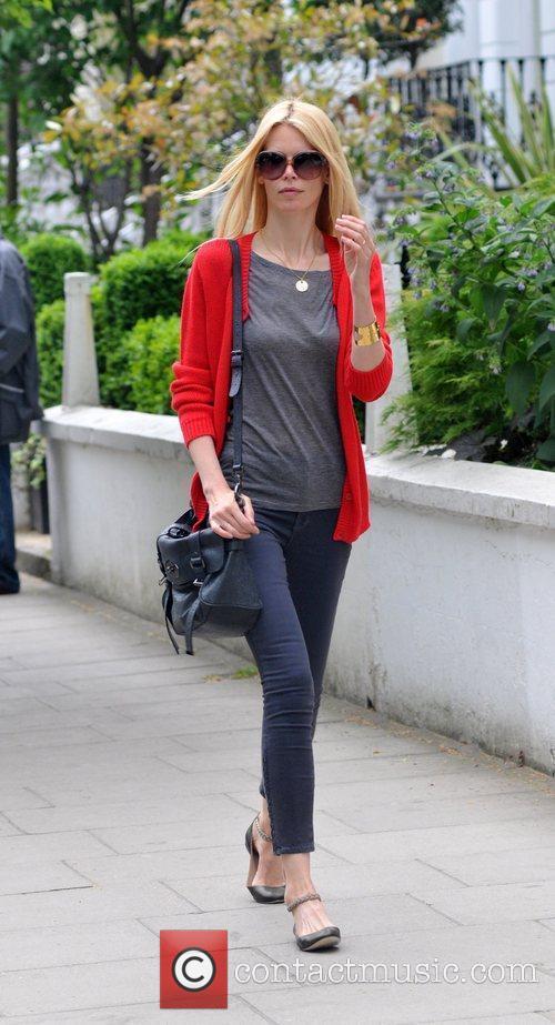 German model Claudia Schiffer makes her way home...