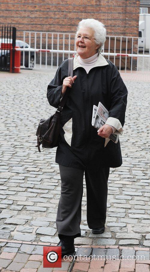 Leaving the Granada Studios after filming Coronation Street