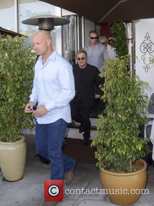 Elton John leaves E Baldi restaurant after lunch....