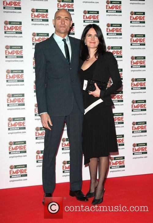 Mark Strong with his wife Liza Marshall The...