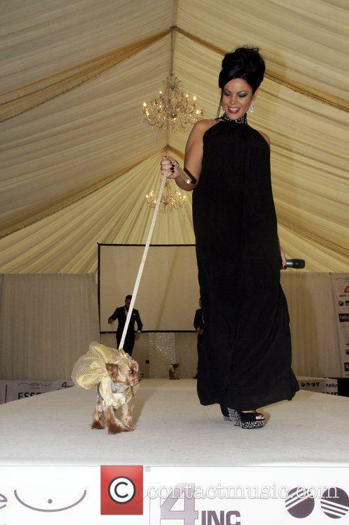 Janet Sapiano And Dog  Essex Fashion week...