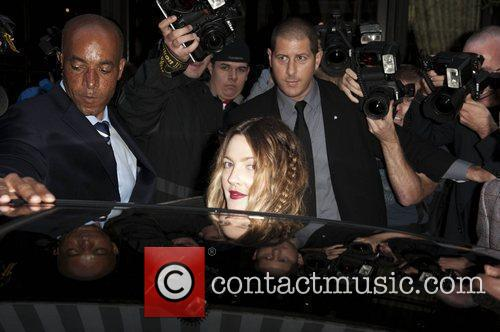 Drew Barrymore leaving her Central London hotel ahead...