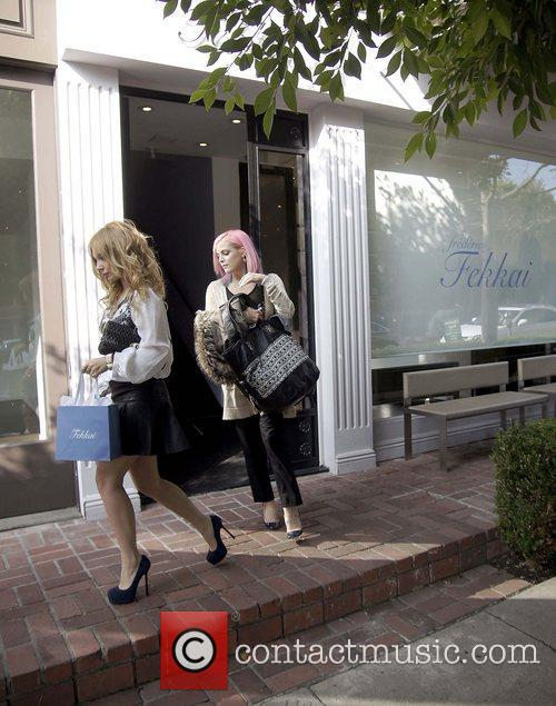 Leaving a beauty salon in Beverly Hills