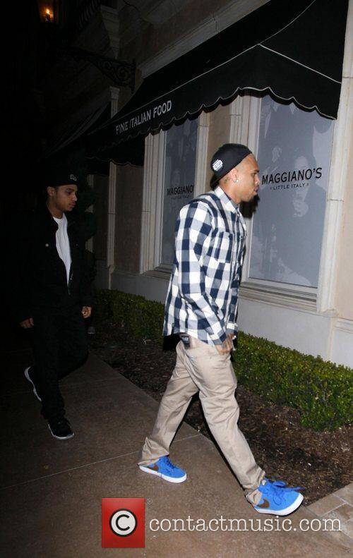 Chris Brown arriving at Maggiano's Little Italy restaurant...