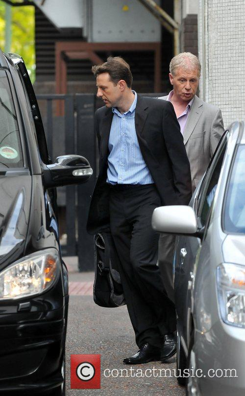 Leaving the ITV studios after appearing