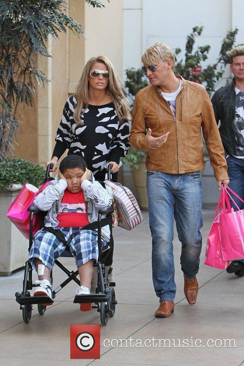 Katie Price, her son Harvey and friend Gary...