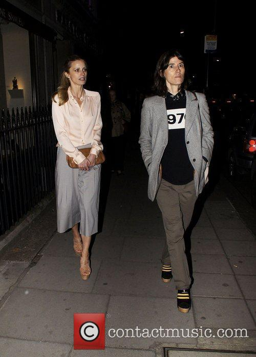 Laura Bailey and a friend leaving the Diane...