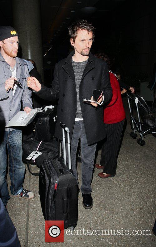 Matthew Bellamy arrive at LAX on a flight...