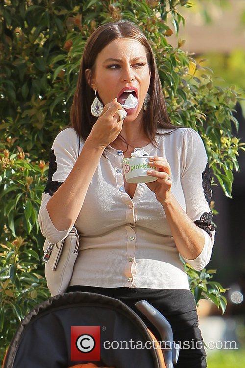 Sofia Vergara on the set of 'Modern Family'....