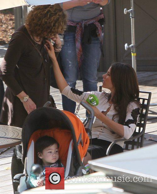 On the set of 'Modern Family'.