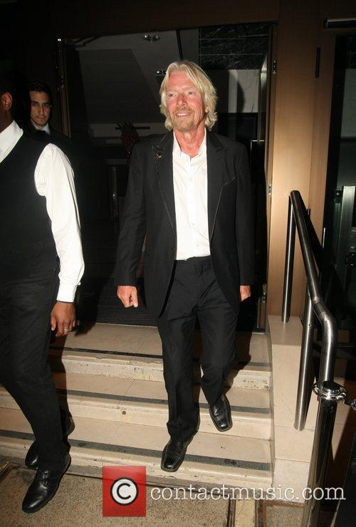 Richard Branson leaving his party at the Kensington...