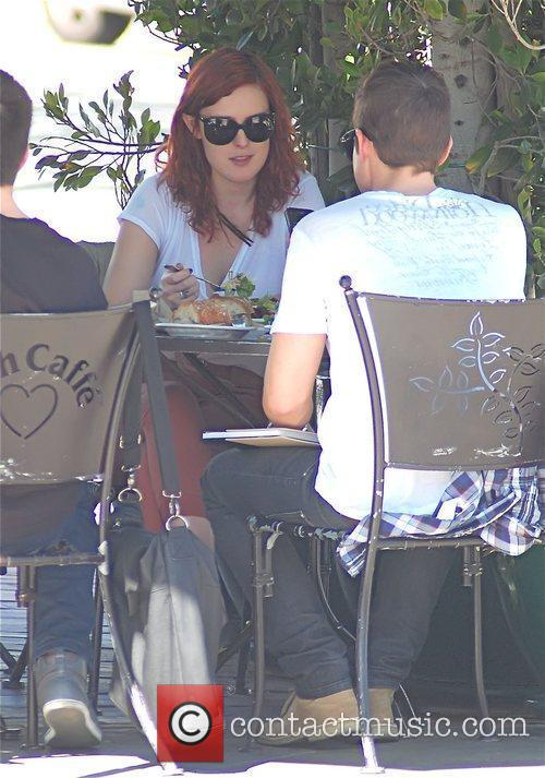 Rumer Willis having lunch with a friend at...