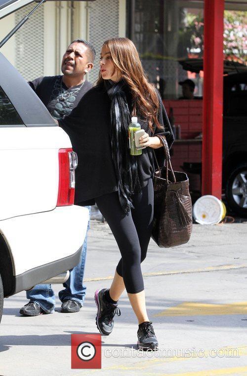 Sophia Vergara leaves her car at a car...