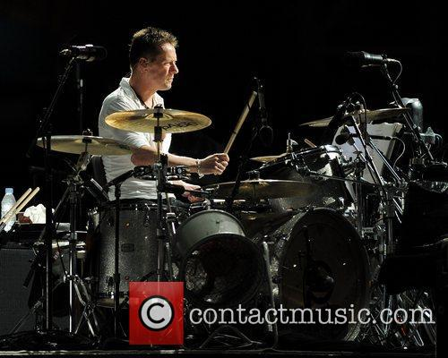 Larry Mullen Jr. of U2 performing during the...
