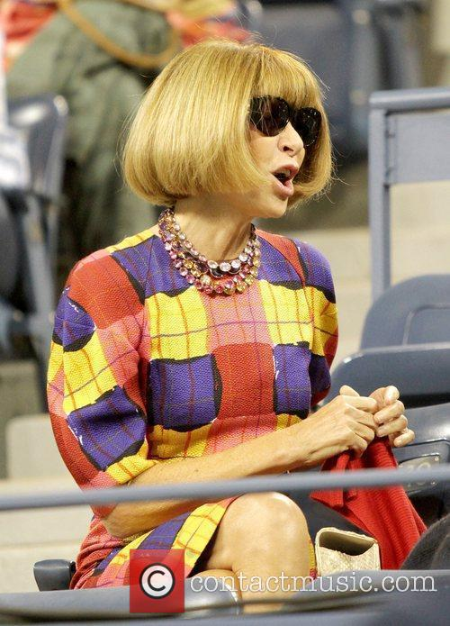 Anna Wintour, editor-in-chief of American Vogue watches the...