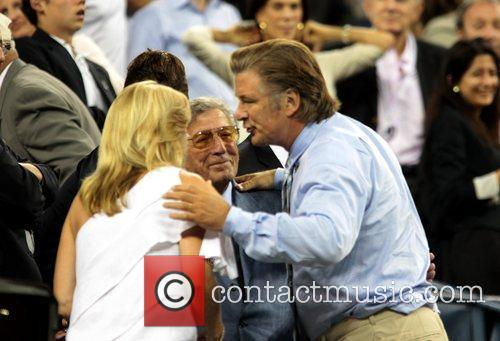 Alec Baldwin greets Tony Bennett and his wife...