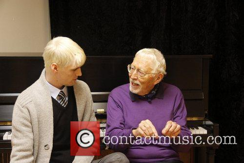 Aaron Carter in rehearsal with composer Tom Jones...