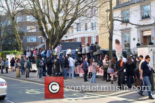 Taylor Swift fans gather outside Abbey Road studios