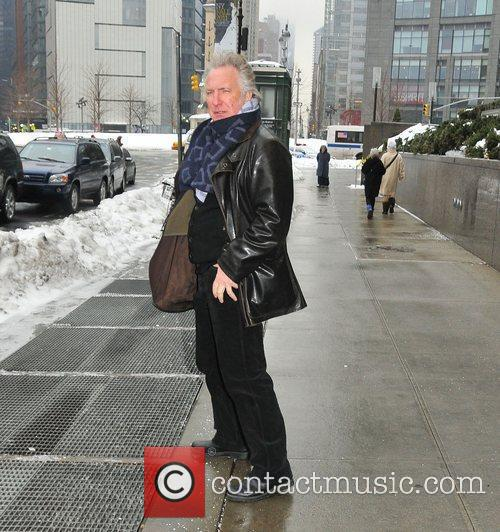 Alan Rickman out and about in snow covered...