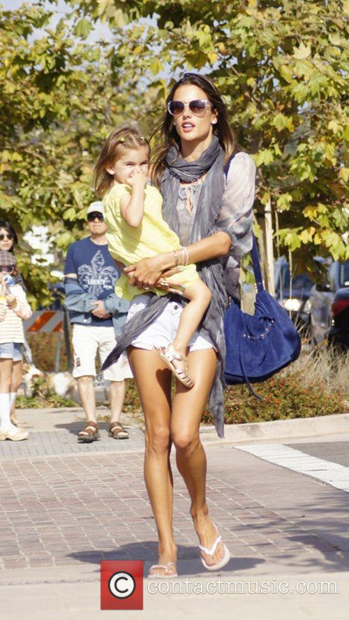 Alessandra Ambrosio and her daughter Anja Mazur arrive...