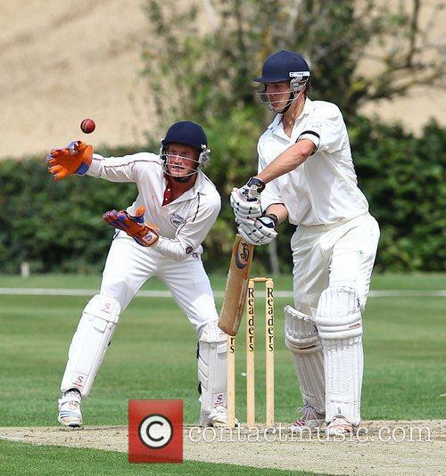 Pippa Middleton's boyfriend Alex Loudon  playing cricket...