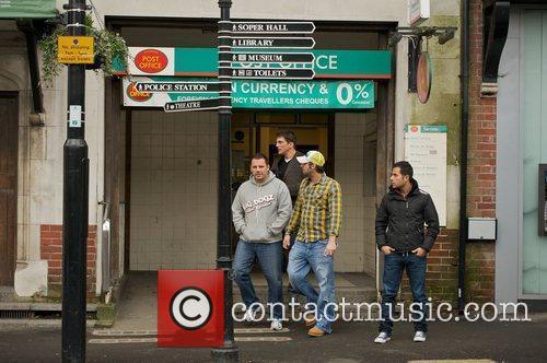 Alex Reid leaving the Post Office in Caterham...