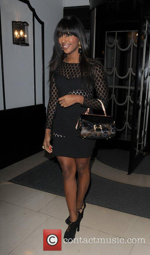 Alexandra Burke leaving Claridges Hotel.
