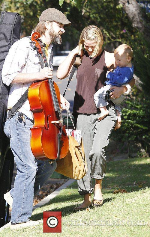 Ali Larter takes her baby son Theodore Hayes...