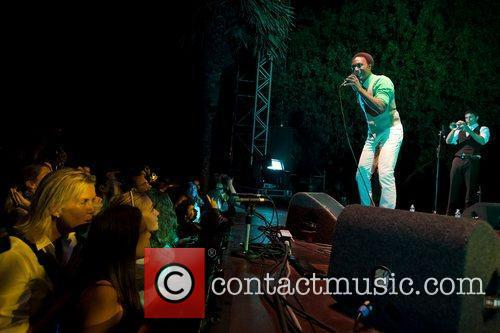 American soul singer, rapper, Aloe Blacc performing live...