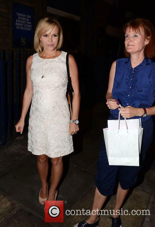 Amanda Holden is seen leaving the Theatre Royal...