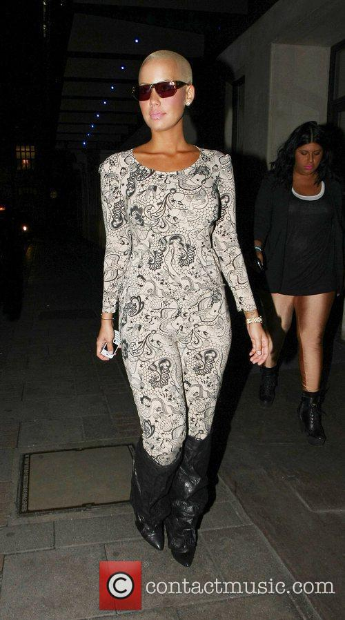 Amber Rose outside The May Fair Hotel
